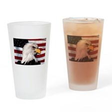 Bald Eagle Flag Water Color Pint Glass