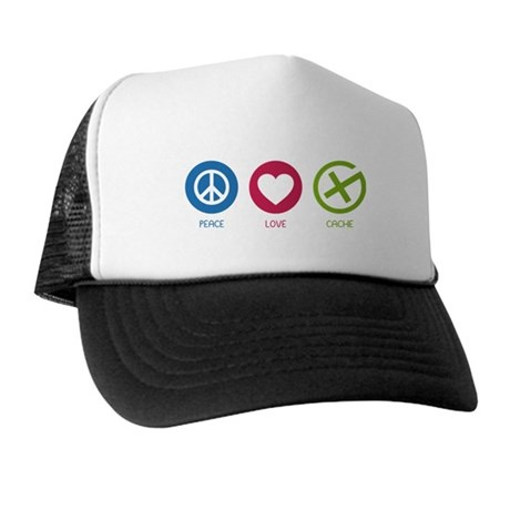 Geocaching PEACE LOVE CACHE Trucker Hat