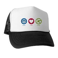 Geocaching PEACE LOVE CACHE Trucker Hat