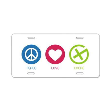 Geocaching PEACE LOVE CACHE Aluminum License Plate