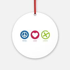 Geocaching PEACE LOVE CACHE Ornament (Round)