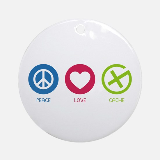 Geocaching PEACE LOVE CACHE Ornament (Round)