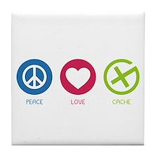Geocaching PEACE LOVE CACHE Tile Coaster