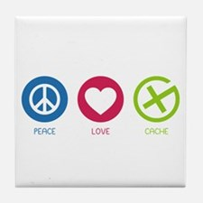 Geocaching PEACE LOVE CACHE Tile Coaster