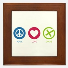 Geocaching PEACE LOVE CACHE Framed Tile