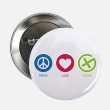 "Geocaching PEACE LOVE CACHE 2.25"" Button"