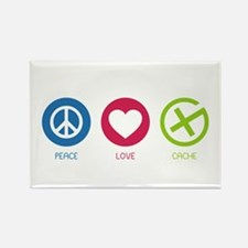 Geocaching PEACE LOVE CACHE Rectangle Magnet
