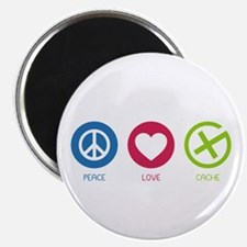 """Geocaching PEACE LOVE CACHE 2.25"""" Magnet (10 pack)"""