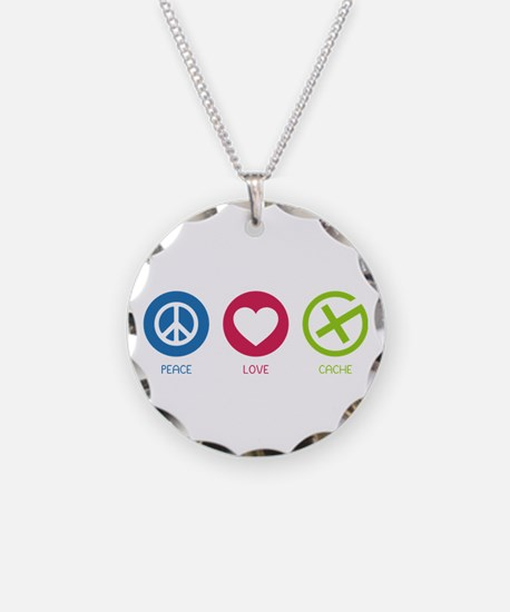 Geocaching PEACE LOVE CACHE Necklace