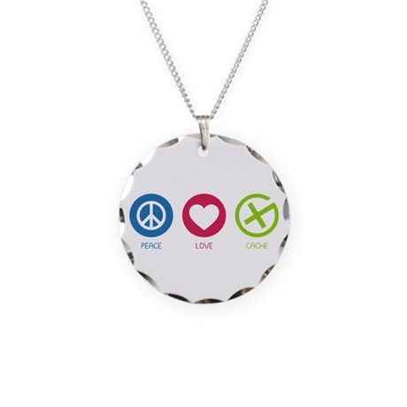 Geocaching PEACE LOVE CACHE Necklace Circle Charm