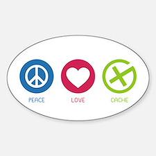 Geocaching PEACE LOVE CACHE Sticker (Oval)