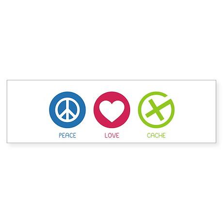 Geocaching PEACE LOVE CACHE Sticker (Bumper)