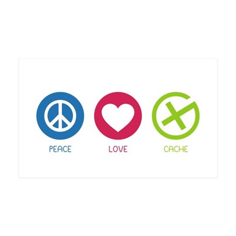 Geocaching PEACE LOVE CACHE 38.5 x 24.5 Wall Peel