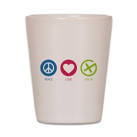 Geocaching PEACE LOVE CACHE Shot Glass
