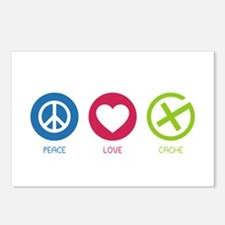 Geocaching PEACE LOVE CACHE Postcards (Package of