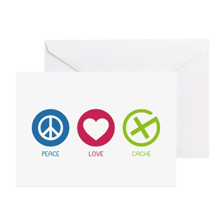 Geocaching PEACE LOVE CACHE Greeting Cards (Pk of