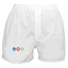 Geocaching PEACE LOVE CACHE Boxer Shorts