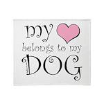 Heart Belongs to Dog Throw Blanket