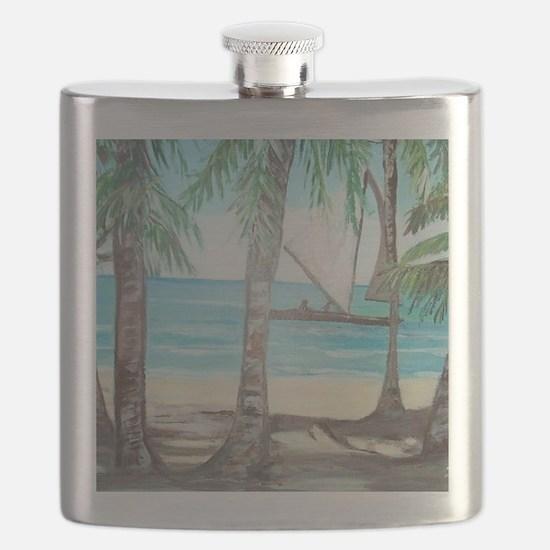 Cute Puerto rico beach Flask