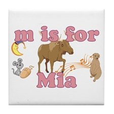 M is for Mia Tile Coaster