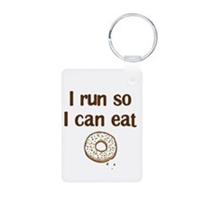 Run for Donuts Aluminum Photo Keychain