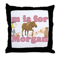 M is for Morgan Throw Pillow