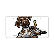 Funny Pointing Griffon Aluminum License Plate