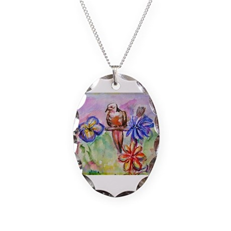 Desert, Dove, colorful, Necklace Oval Charm