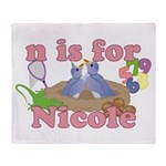 N is for Nicole Throw Blanket