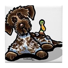 Funny Pointing Griffon Tile Coaster