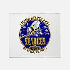 USN Navy Seabees We Build We Throw Blanket