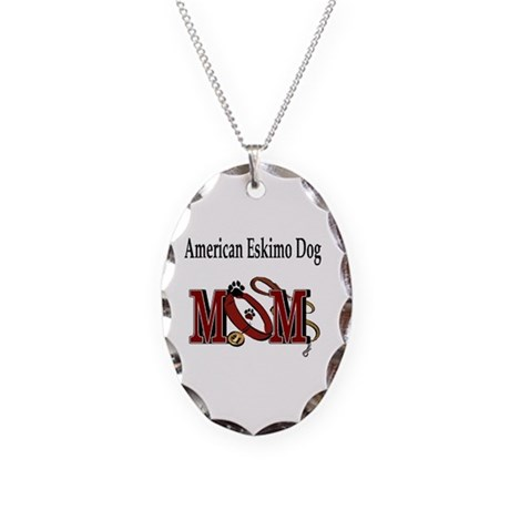 American Eskimo Dog Mom Necklace Oval Charm
