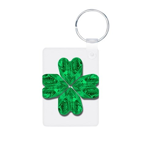 Crystal Four Leaf Clover Aluminum Photo Keychain