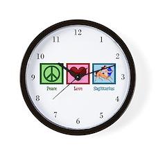 Peace Love Sagittarius Wall Clock