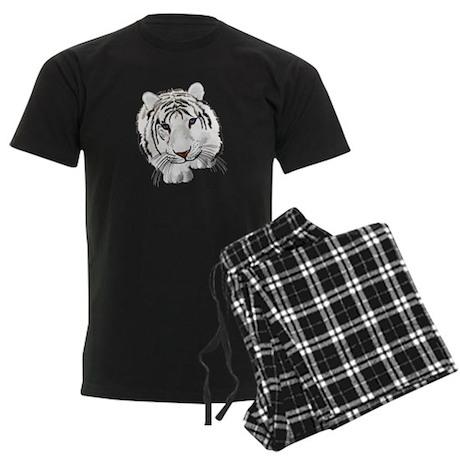 White Bengal Tiger Men's Dark Pajamas