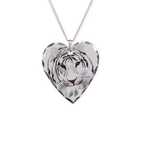 White Bengal Tiger Necklace Heart Charm