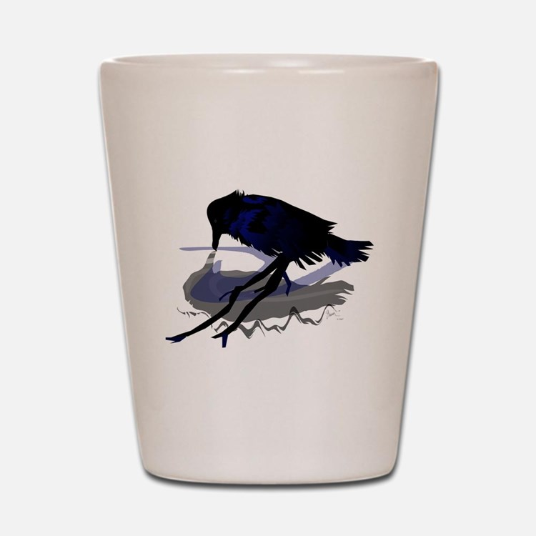 Raven Drinking with Shadow Shot Glass