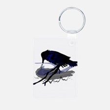 Raven Drinking with Shadow Aluminum Photo Keychain