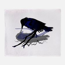 Raven Drinking with Shadow Throw Blanket