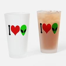 I Love Aliens Pint Glass