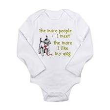 The More People I Meet (Dog) Long Sleeve Infant Bo