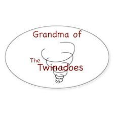 Grandma of Twinadoes Oval Decal