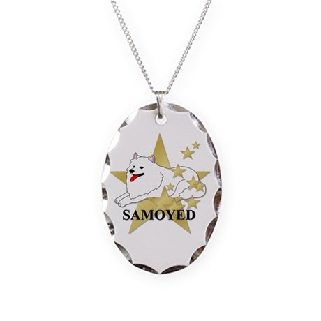 Samoyed Stars Necklace Oval Charm