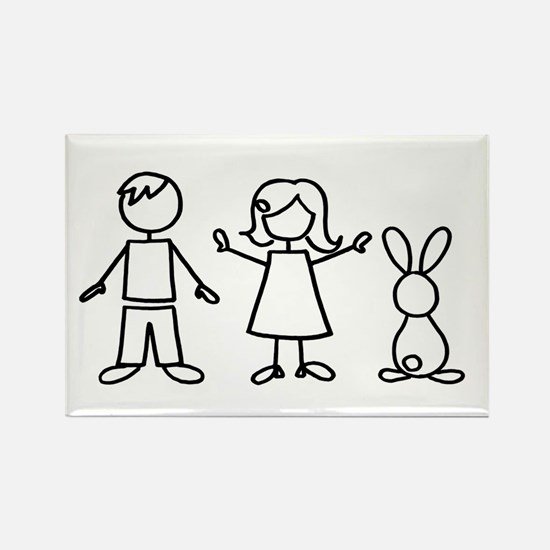 1 bunny family Rectangle Magnet