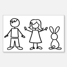 1 bunny family Sticker (Rectangle)