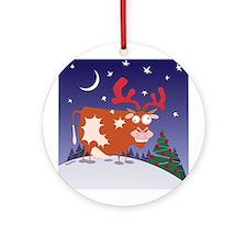 Christmas Eve Cow Ornament (Round)