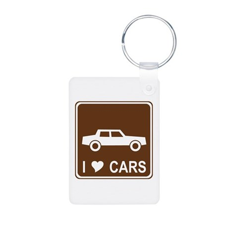 I Love Cars Aluminum Photo Keychain