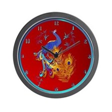 Three Feathers and a Peacock Wall Clock