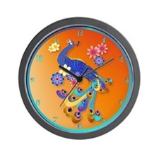 Fancy Peacock and Flowers Wall Clock