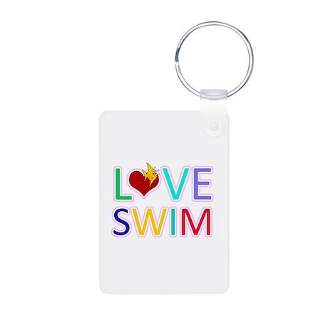 LOVE SWIM Aluminum Photo Keychain